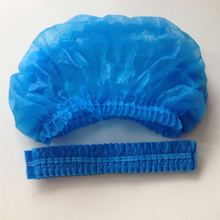 Blue disposable non woven bouffant nurse cap