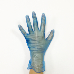 Blue vinyl synthetic powder free exam gloves