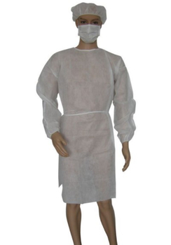 White non woven plastic disposable isolation gowns with sleeves