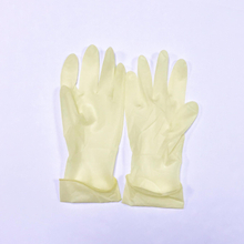 Beige pre powdered sterile latex surgical gloves