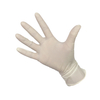 Medium size lightly powdered disposable latex examination gloves