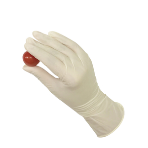 Box of large powder free disposable food safe latex gloves