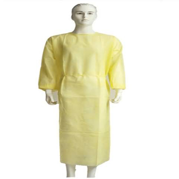 Yellow disposable non woven isolation gown for hospital use