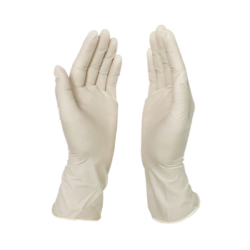 Small size lightly powdered disposable latex examination gloves